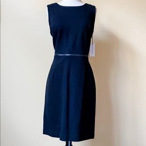 Calvin Klein Black Belted Sleeveless Sheath Dress